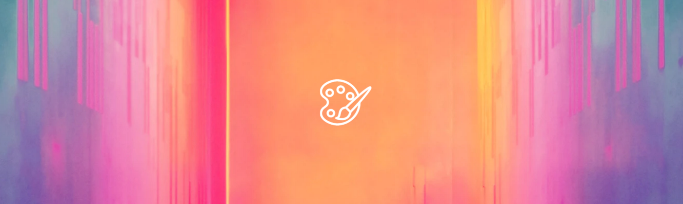 Paintbrush icon against an abstract colored background
