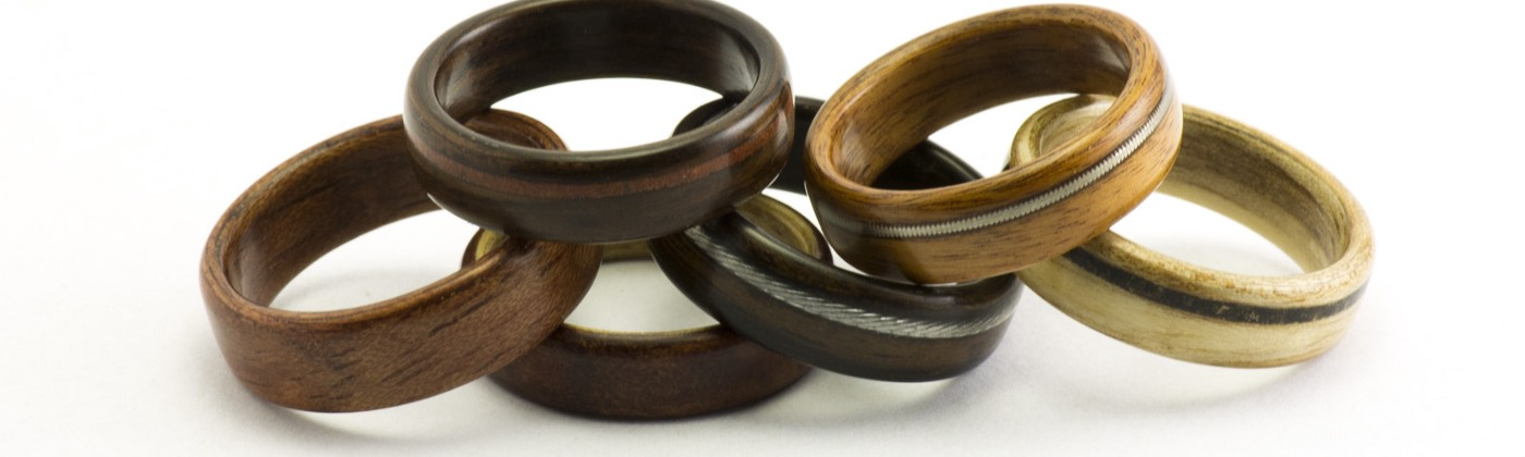 A small collection of wooden rings.