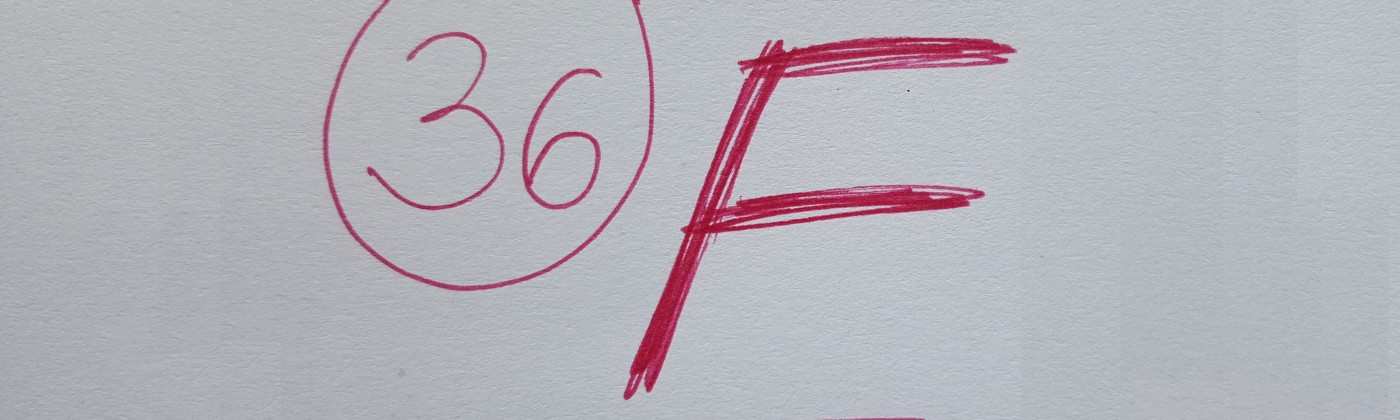 Written in red pen: The number 36 and the letter F.