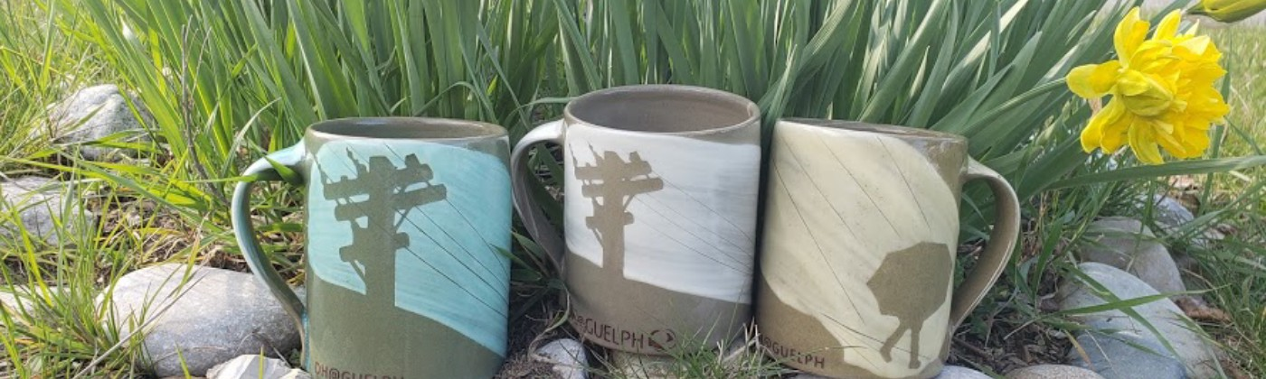 Three mugs surrounded by yellow daffodils.