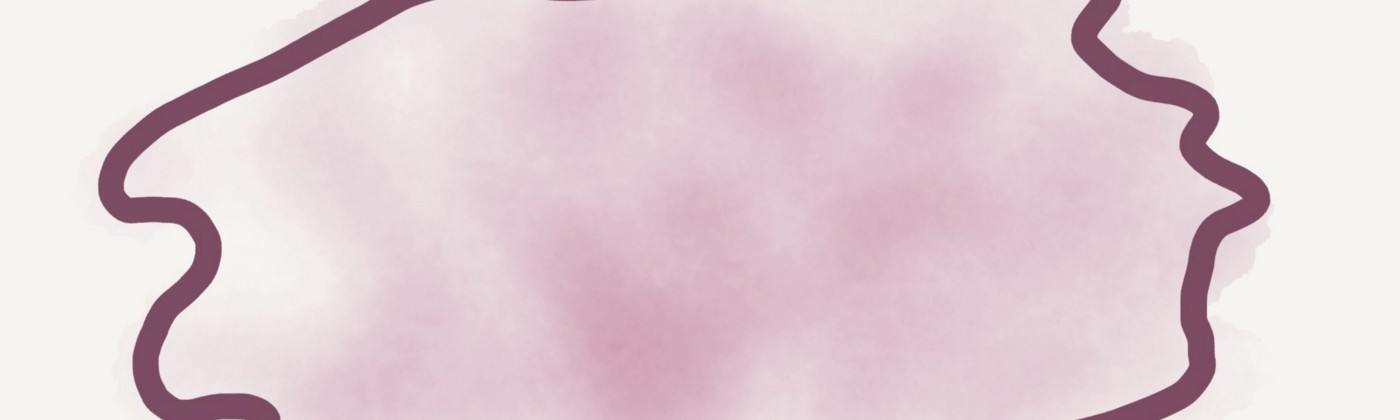 A pink cloud shaped vaguely like a brain, outlined with a sharper, dark pink stroke.