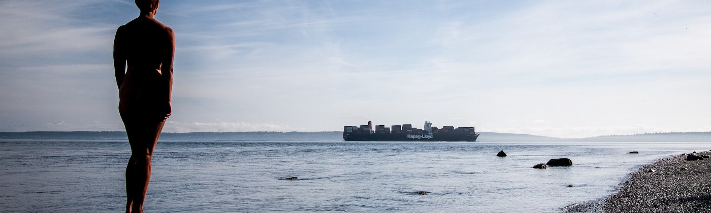 photo of nude woman standing on a large rock watching a container ship pass by, created by roxanne darling