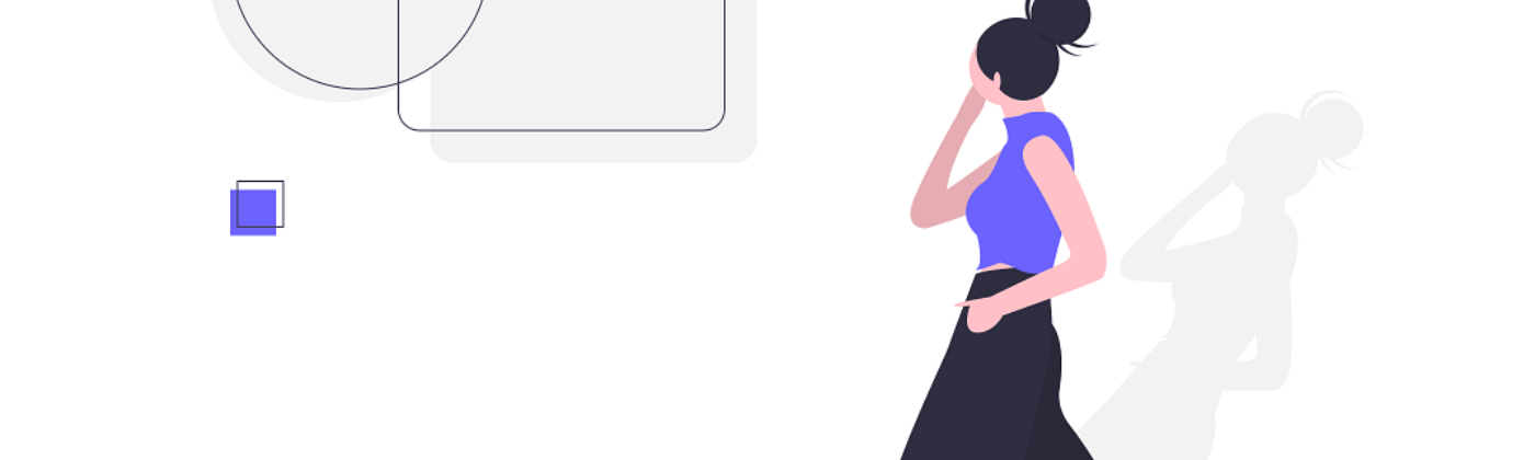 Drawn vector image of woman walking and looking at shapes in background