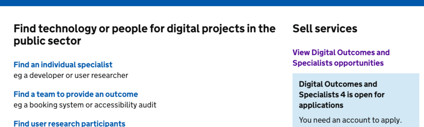 Screenshot of the Digital Marketplace showing Digital Outcomes and Specialists is open for applications