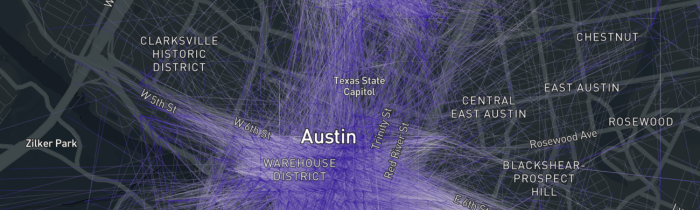 Austin scooter trips start (white) and end points (blue) visualized with kepler.gl for morning commute trips in January 2019