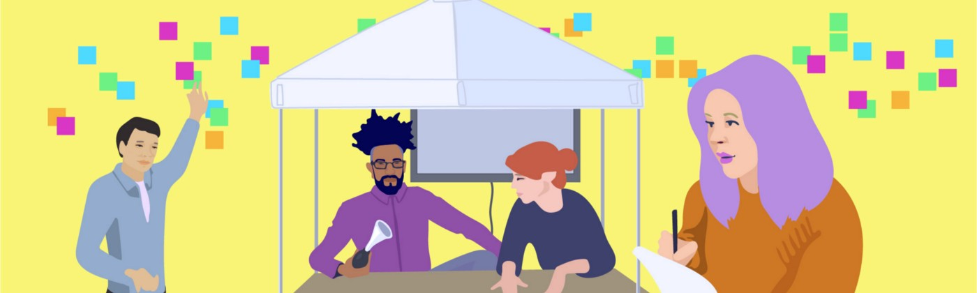 Illustration of Arden and Eduardo under a tent, one student taking notes, and another student putting Post-Its on the wall.