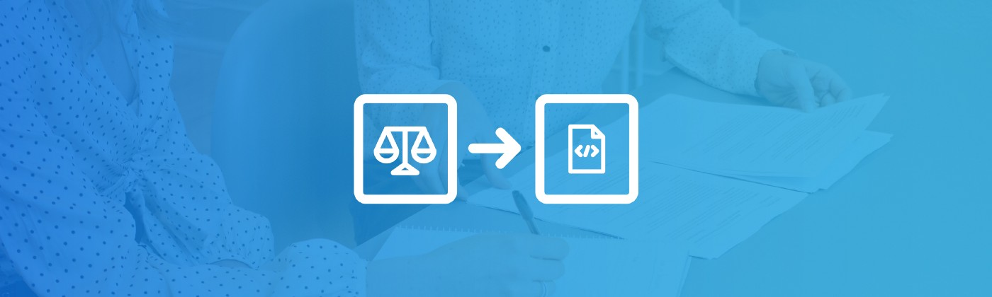 Two legal professionals working on a document. Two icons overlay it with—the scales of justice, and a code document.