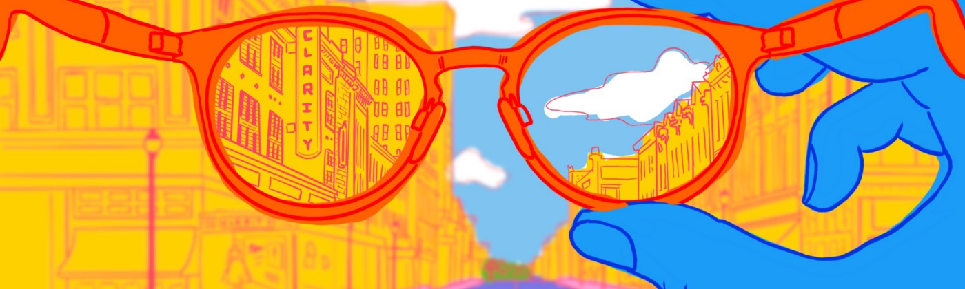 Colorful illustration with a pair of glasses in the foreground. Only the portion of the image behind the lenses is clear.