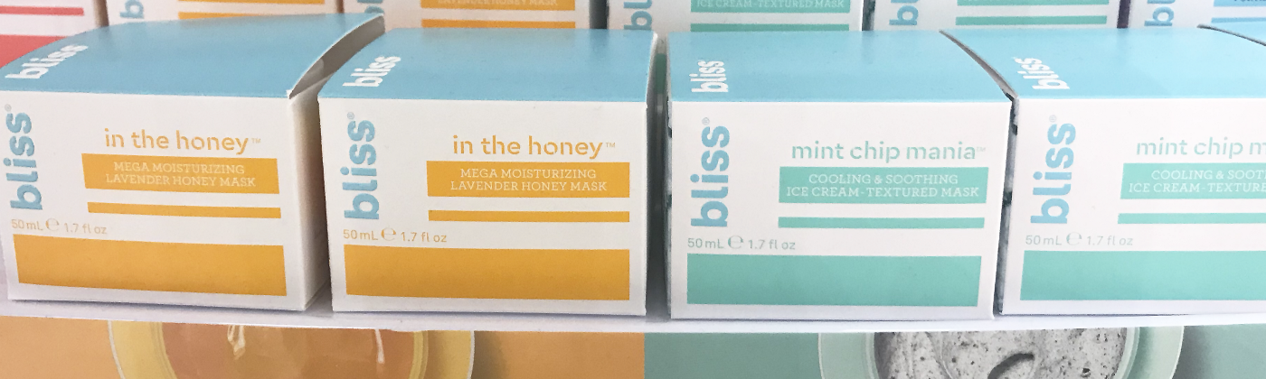 bliss 's packaging which uses color to catageorize the different types