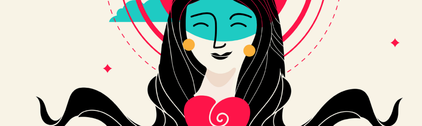 Digital drawing of a smiling person with flowing black hair, a corona of sun behind her head, and a red heart in front of her