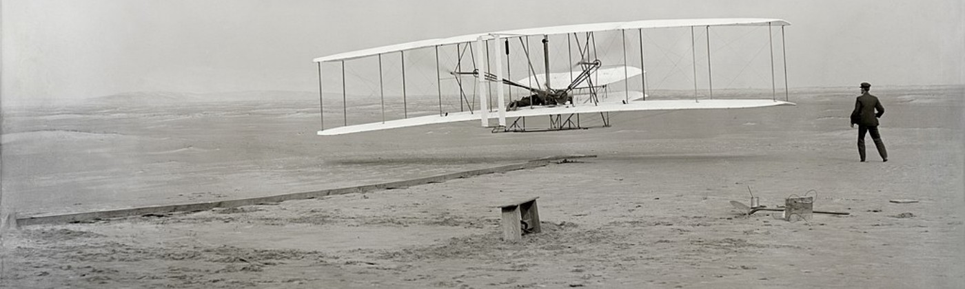 The first powered, controlled, sustained aeroplane flight in history, Dec 1903.
