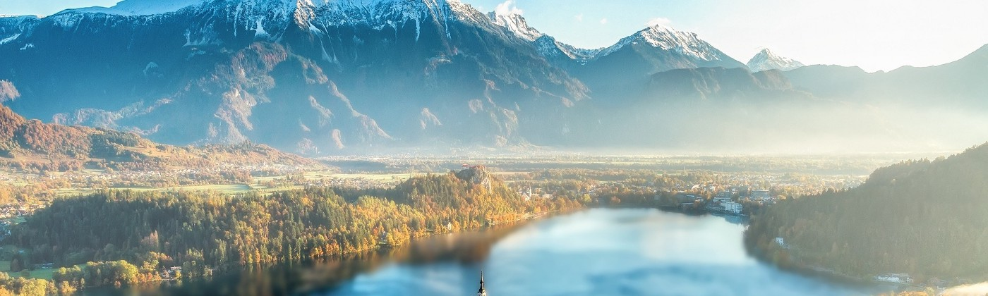 Bled Island Slovenia with mountains