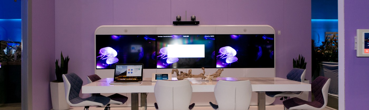 A conference room with video conferencing.