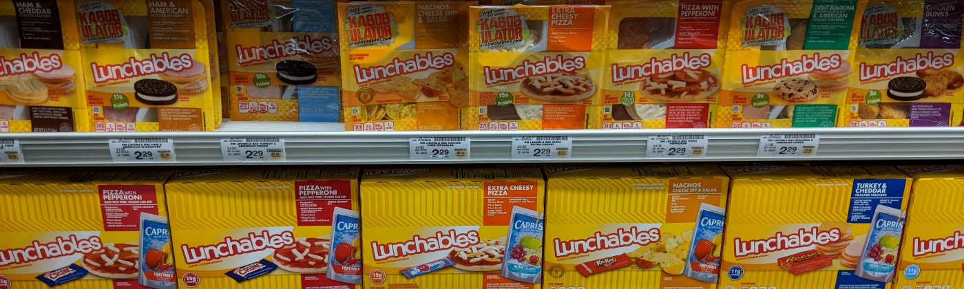 A display of Lunchables (lunch kits) at a Safeway grocery store in Mountain View, CA.