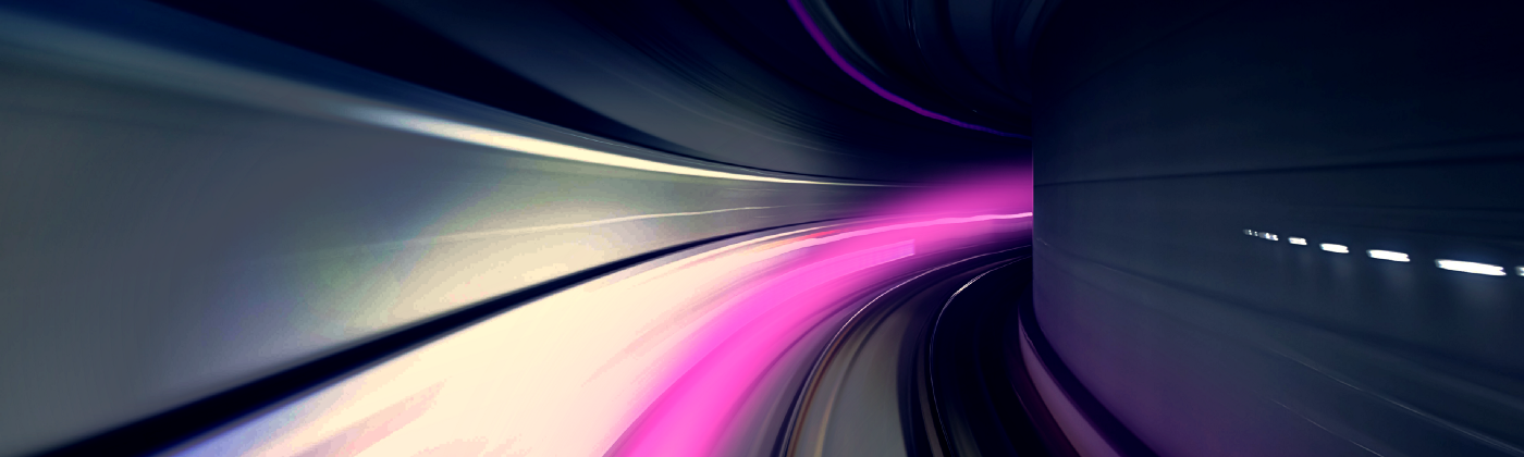 A tunnel showing a fast-moving purple blur.