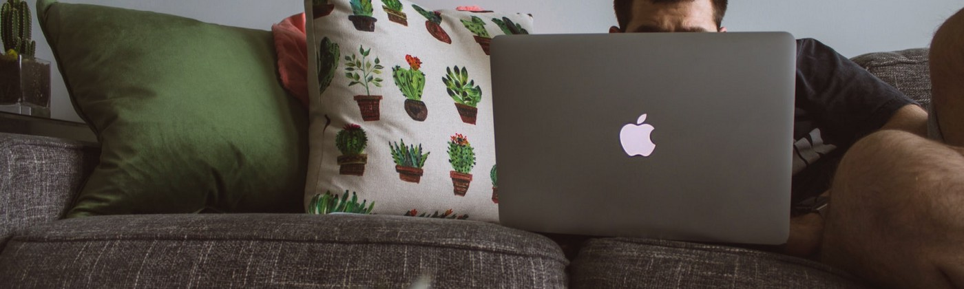 A couch is adorned with pillows and someone sits on the couch on a computer. Their head is obstructed by the laptop.