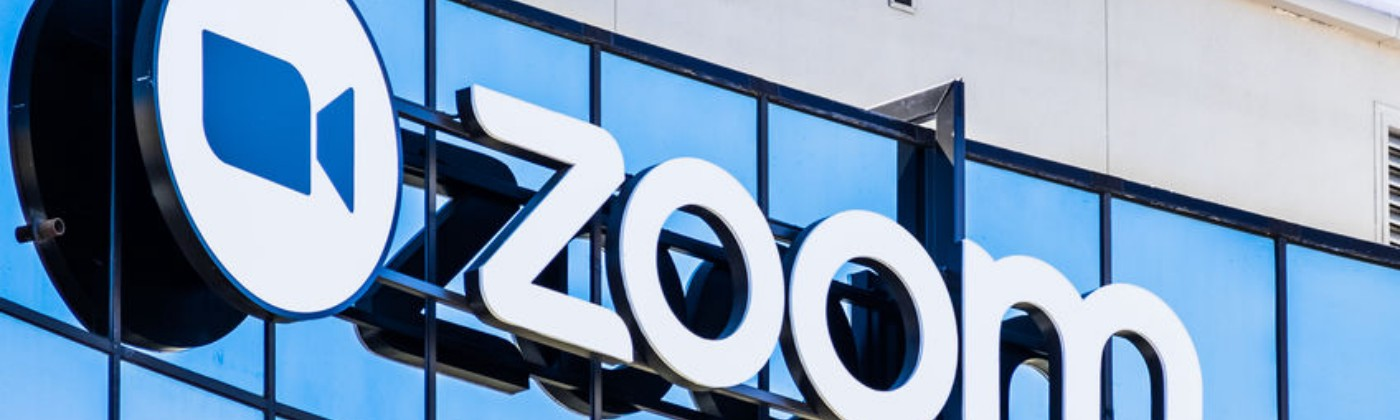 Zoom sign at headquarters in Silicon Valley, California.