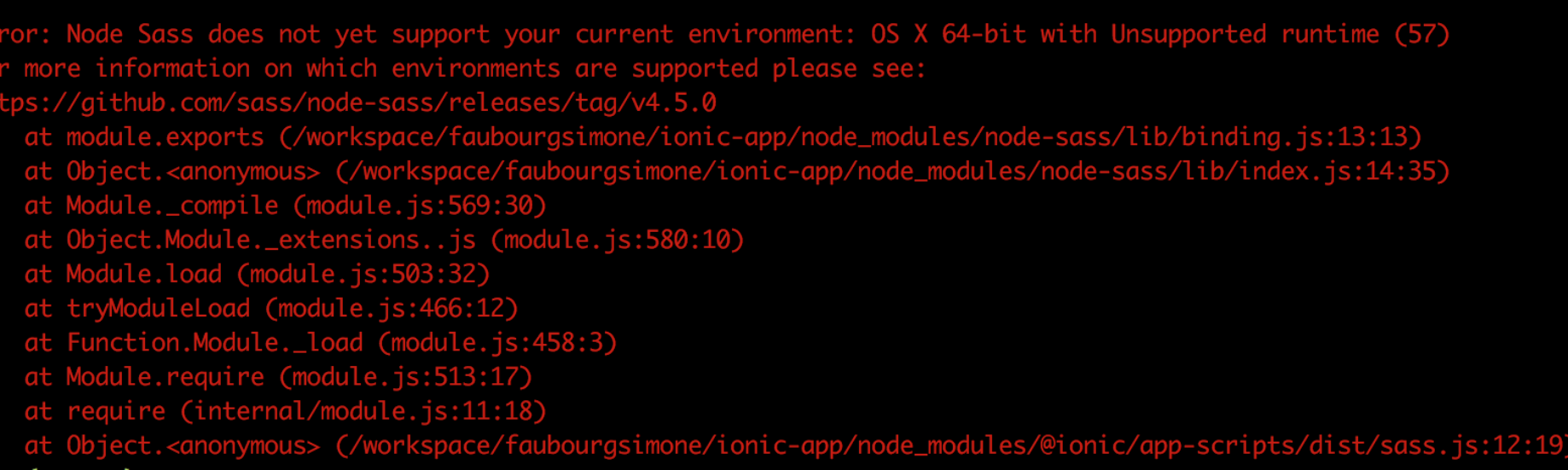 """How to fix """"Error: Node Sass does not yet support your current environment:  OS X 64-bit with Unsupported runtime (57)""""   by Jennifer Proust (ג'ניפר  פרוסט)   Medium"""
