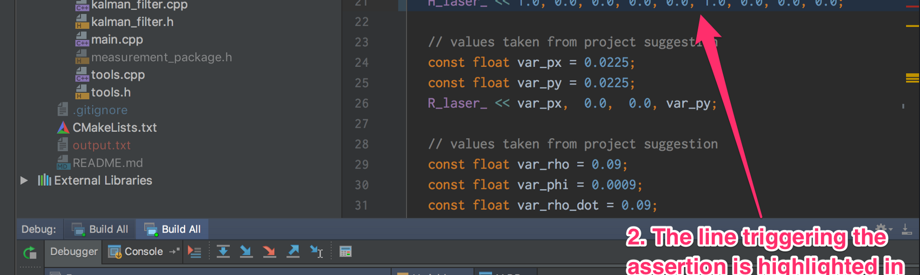 CarND: Assertions and Debugging your C++ projects with CLion