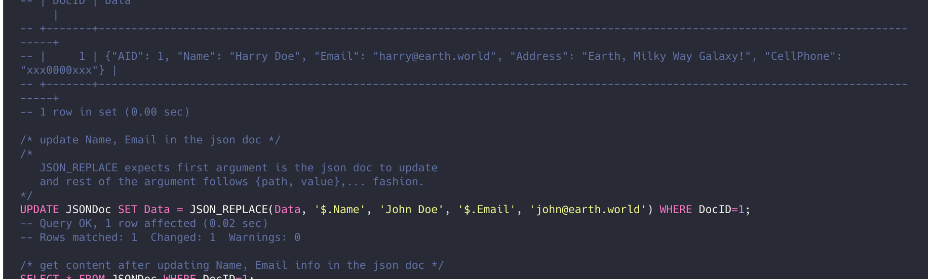 Working with MySQL JSON data type with prepared statements