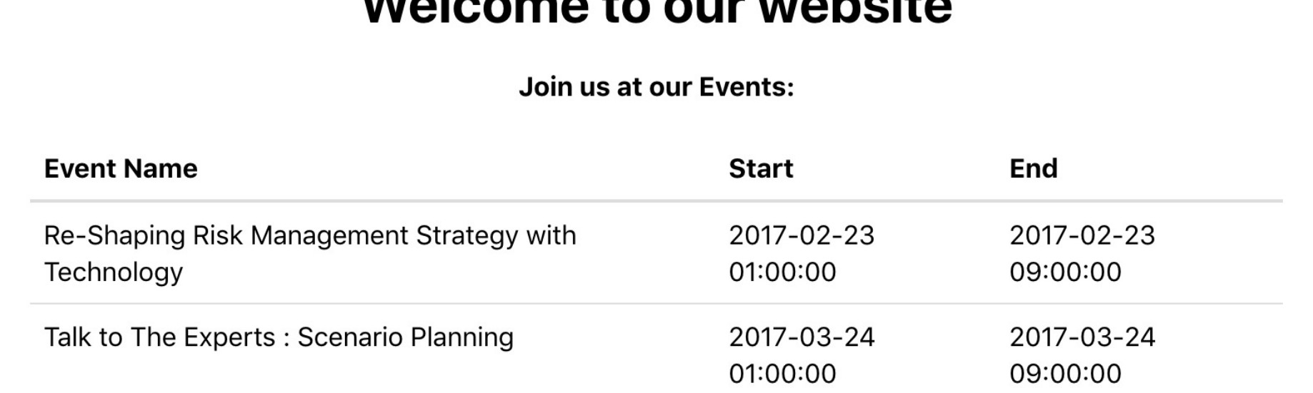 How to show list of Events created in Odoo ERP shows in