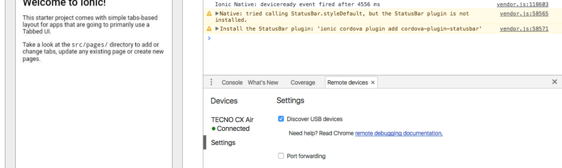 Debugging an Ionic Android App Using Chrome Dev Tools