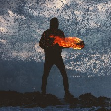 Figure surrounded by ash and fire.