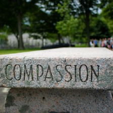 """Bench with """"compassion"""" engraved in the stone."""