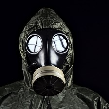 Person wearing gas mask.