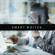 How to Make a Living as a Writer article cover image by Aigner Loren Wilson. A Black person with an ear piece in smiling while holding a pencil and pointing at their computer screen.