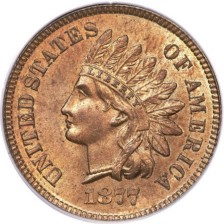 1877 Indian cent, Courtesy of Heritage Auction Galleries, used by permission.