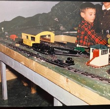 Family photo of me and my sister with my train set