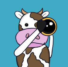 The image shows an adorable hand drawn cow looking though a telescope right at the reader. The cow is white with brown spots and the background is a cool teal.