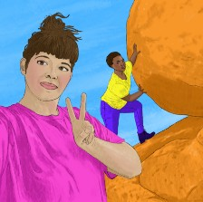 A white person taking a selfie of themself and a Black person in the background whos' rolling a huge boulder up a mountain.