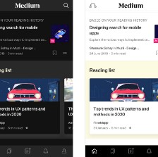 two screenshots of the medium app side by side—one in dark mode and one in light mode