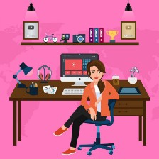 Drawing of smiling woman at desk with computer and coffee.