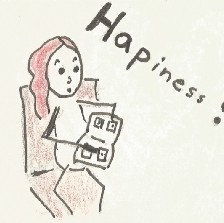"""A drawn comic panel representing a girl looking at her art book saying """"happiness?"""""""