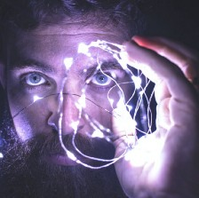 Man looking at the camera with laser-like focus