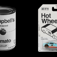 Image of four iconic brands (Heinz ketchup, Campbell's tomato soup, Hot Wheels, and Coca-Cola) with their trademark colours and unique fonts removed.