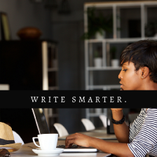 Cover image for Creative Intent by Aigner Loren Wilson. Picture of a Black person with short hair sitting at a table in front of a computer and a white mug. They have their hand on their chin as though they are thinking. The words over the image read: write smarter.