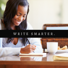 How I write 6 Articles in 4 Hours article cover image. A picture of a smiling Black woman writing in a notebook with the words write smarter in front of her. Learn how to write faster, smarter, and more organized to accomplish more.