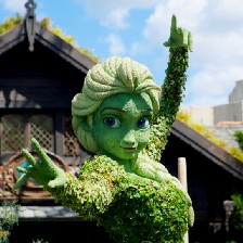 Disney character, a closeup of the topiary in the form of Elsa