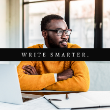 8 Outlining Techniques for Writers article cover by Aigner Loren Wilson. Picture of a Black person sitting with their arms crossed smiling and looking away from their computer and notebook. Learn how to outline. Outlines for writers.