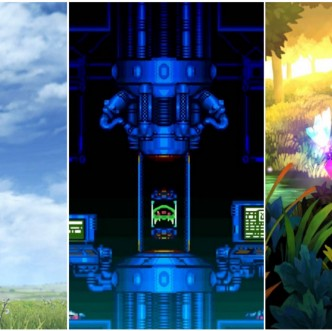 Screenshots from Xenoblade Chronicles Definitive Edition's title screen, Super Metroid's title screen, and the introduction video from Odin Sphere.
