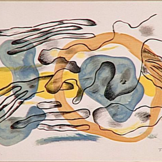 """Abstract artwork in gray, yellow, black. """"Clouds"""" by Fernand Leger. Fair Use. Source: Wikiart."""
