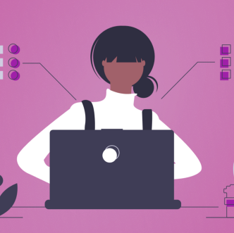 graphic of person working at a laptop