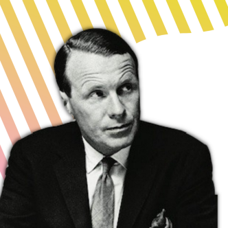 Black and white David Ogilvy over pink and yellow lines