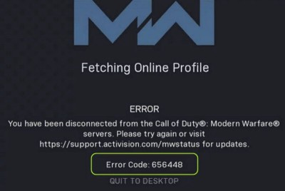 Solved: How do I fix Call of Duty Modern Warfare Fetching Online Profile Error Code: 656448?