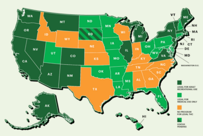 Where does the legalization of marijuana stand in the U.S.?
