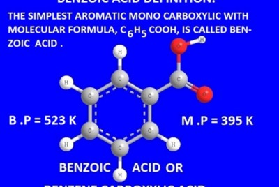 Benzoic acid-definition-properties-preparation from benzene and phenol.